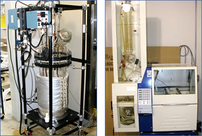 Medium scale, pilot plant equipment is used to evaluate methods and produce experimental batches